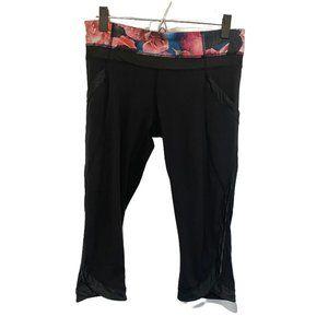 Lululemon Black Floral Capri Leggings SZ 8